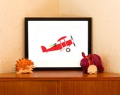Red Baron Bunny Art Print - Eco Friendly Nursery Wall Decor (Free Shipping in US)