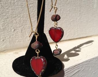Elongated Gold Tone Heart and Lava Bead Dangling Earrings