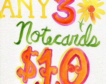 SALE - Any 3 Notecards | Stationery Discount