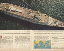P&O ORIENT CANBERRA Cruise Ship Ocean Liner Original 1964 Vintage Color Print Ad - Florida; Cunard Lines; Sailing the Seven Seas