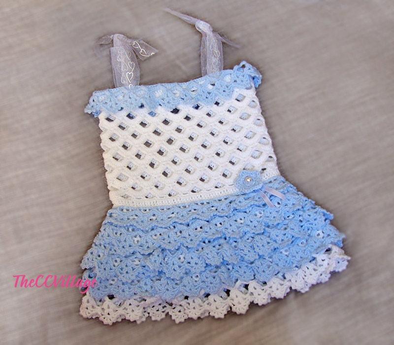 Blue and white crochet baby girl dress handmade baby dress