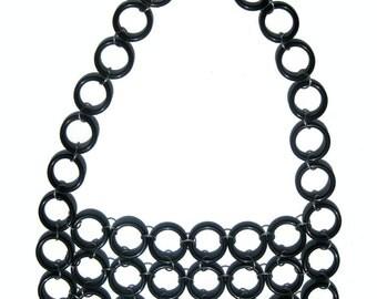 Black Chainmaille Statement  Bib Necklace