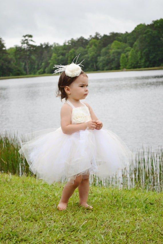 Tulle & Lace Tutu Flower Girl Dress An Ivory or White Dress