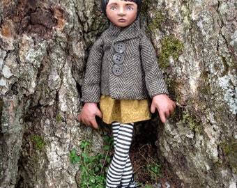 By Herself OOAK Art Doll Photography Print Peacoat Girl
