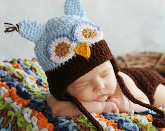 Custom Made Blue and Brown Whimsicle Owl Hat ,with earflaps and ties Size preemie,newborn, 0-3 month, 3-6 month, 6-12 month, 1-3 yr, 4-12 yr