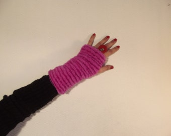 The small pink and purple reversible mittens