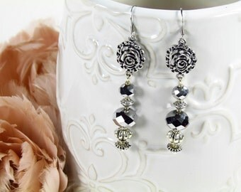 Victorian Rose and Silver Shade Crystal Earrings
