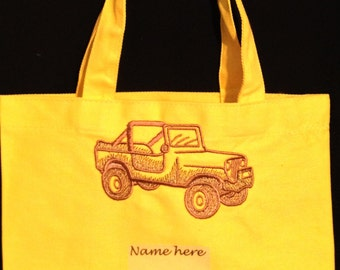 Embroidered bright colored 9x11 cotton tote bags, jeep