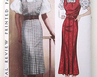Sale - Vintage 30s Slim Fitting Dress, Puff Sleeves.  Pictorial Review 8351 Sewing Pattern. Size 14