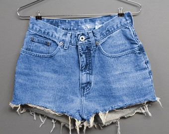 High Waisted Blue Denim Shorts - Plain Blue Denim - Light Blue Jean Shorts - Plus thru Petite Size