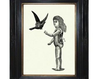 Steampunk Doll Art Print Mechanical Girl with Bird Raven Crow Robot Victorian Art Print Android Surrealism