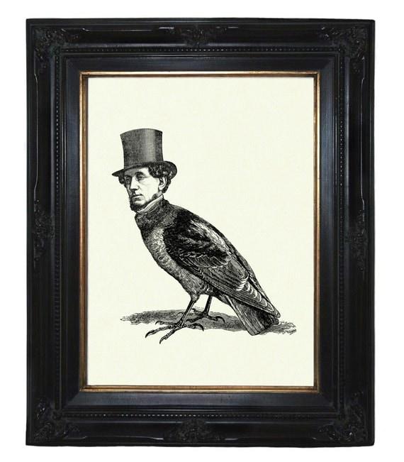 Gentleman Birdman with Top Hat Victorian Steampunk art print