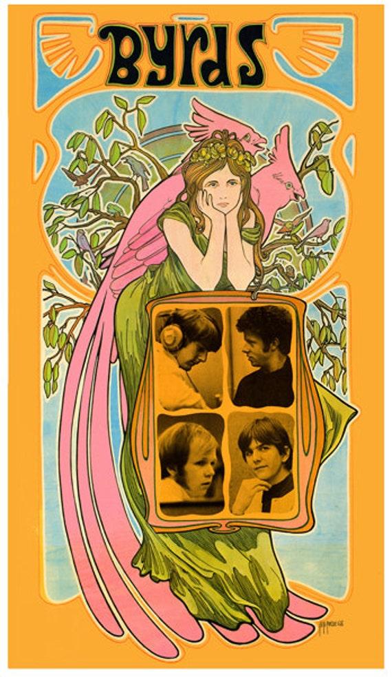 Byrds 1960s art nouveau woman poster