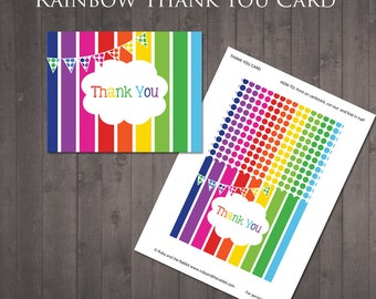 INSTANT DOWNLOAD - Printable Rainbow Thank You Card
