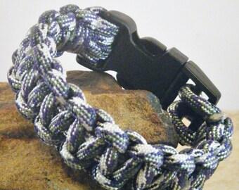 """7.25"""" Purple Camo Paracord Bracelet/Survival Bracelet/Cobra Knot Bracelet"""