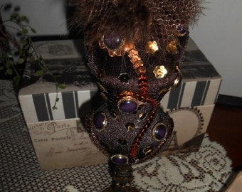 Upcycled Dress Form, Brown, Beads and Stones, Boutique Prop, Jewelry Display, Handmade