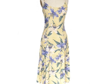 Yellow Rayon Sun Dress with Hawaiian Orchid Print Design