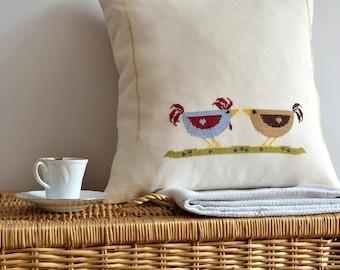 Hand Embroidered Bird Pillow Cover - Bird pillow - Cushion Cover - Decorative Bird Pillow - Applique Pillow - Bird Applique Pillow