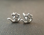 Small Sterling Silver Om Sign Stud Earrings