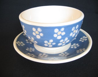 Bowl and Saucer Handpainted blue with white flowers