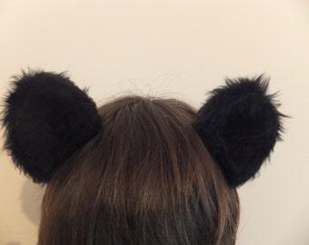 Black Bear Ears Furry Cosplay Hair Clips Kawaii Grizzly Panda Carebear Mouse Soft Cute Halloween Kitsch Festival Animal