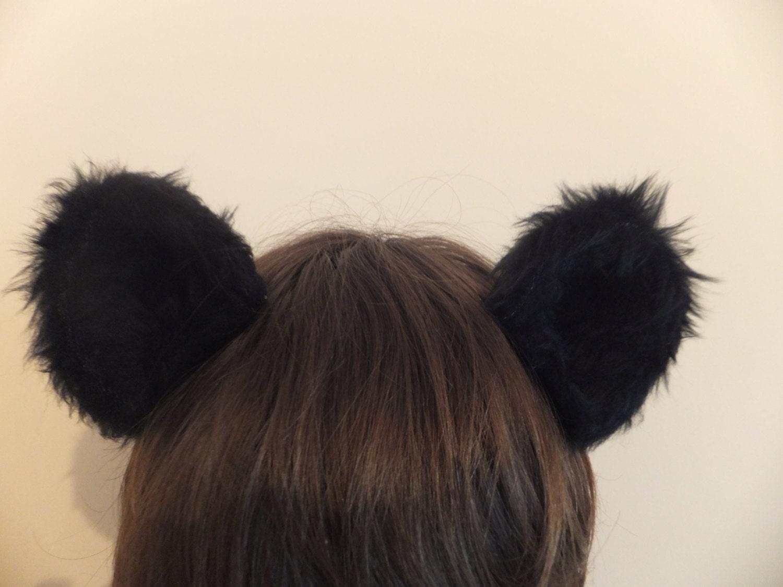 Black Bear Ears Furry Cosplay Hair Clips Kawaii Grizzly Panda