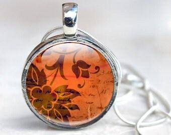 Orange Flower Necklace - Glass Flower Necklace - Flower Necklace - Orange Pendant Necklace