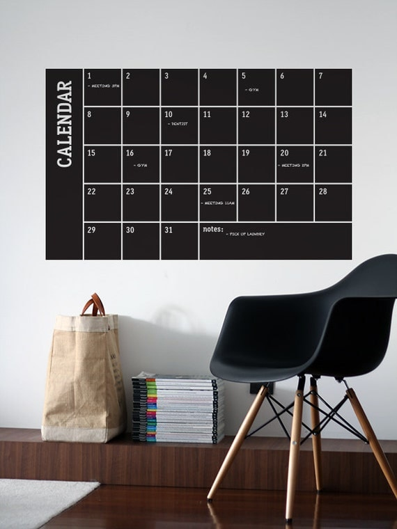 Chalkboard Monthly Calendar Vinyl Decal