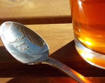Southern Sweet Tea Spoon - Hand Stamped Vintage Silverware