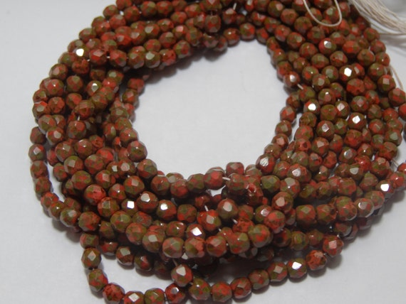 Czech Glass 4mm Fire Polish Coral Picasso 45 pieces