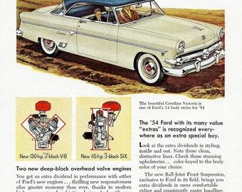 Vintage 1954 Ford Car Ad - Crestline Victoria  - 1950's Classic Car Man Cave Wall Decor