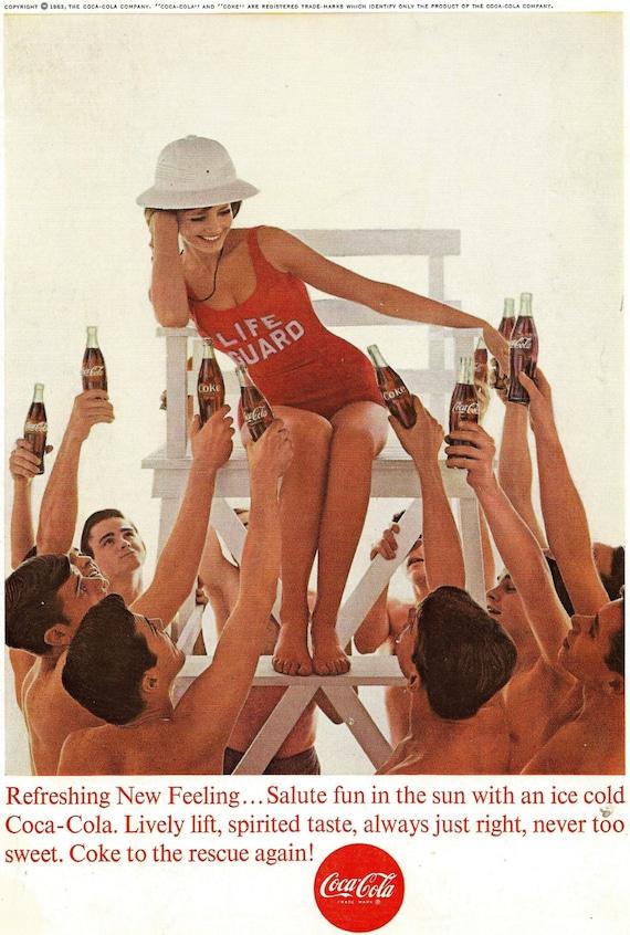 Vintage Coke Ad 1960 S Summer Sun Lifeguard Girl