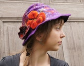 Purple hand-felted hat with butterfly and flower. OOAK