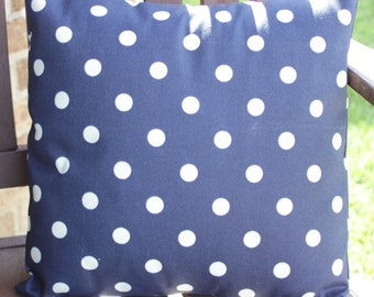 Double sided Navy Polka dot pillow cover Indoor Outdoor- 18x18, 16x16, 14x14 or 12x18