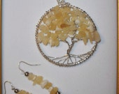 Insightful Connections - Aragonite Tree of Life Necklace and Ear