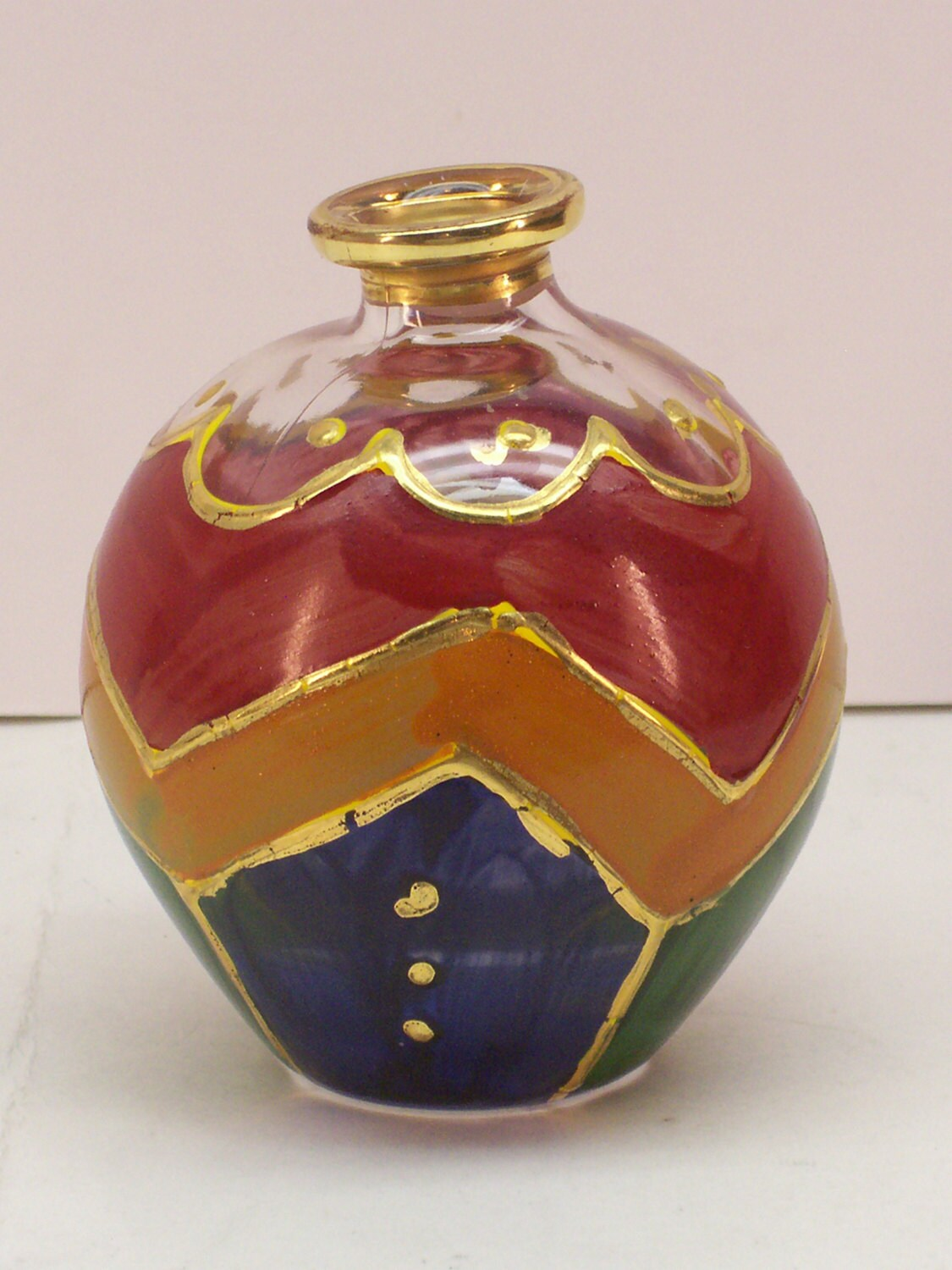 Glass perfume bottle hand painted gold trim by garagesaleglass for Hand painted bottles