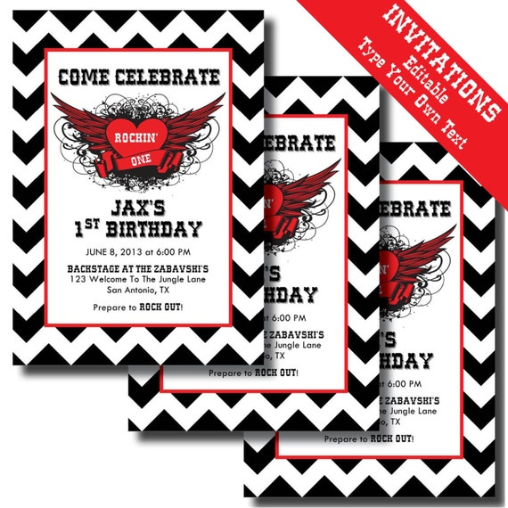 Rock N Roll 1st Birthday Printable Invitations And Party