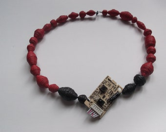 Red BorgBead Circuit Necklace