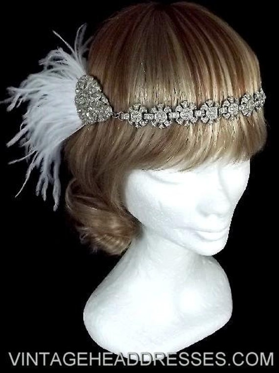 Great Gatsby 1920's Art Deco Flapper Ostrich Feather Forehead Band Headpiece