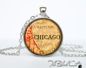 Vintage map of Chicago pendant Old map of Chicago necklace Antique map of Chicago jewelry (PVM00005)