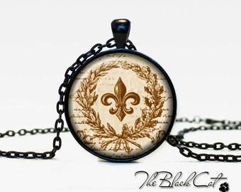 Fleur de lis pendant fleur de lis necklace fleur de lis jewelry  (PFD0002)