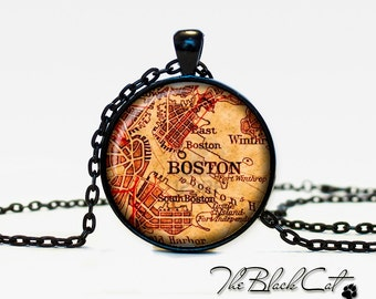 Vintage map of Boston pendant Old map of Boston necklace Antique map of Boston jewelry (PVM00008)