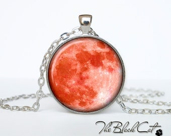 Moon pendant Moon necklace Moon jewelry red moon (PM0001)