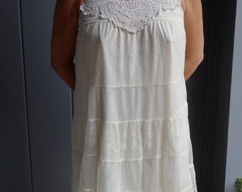 Romantic Lace Sundress, Boho Sundress, Cream Lace Dress, Garden Party Dress, Vintage Lace Dress