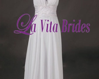 V neck wedding dress chiffon with lace