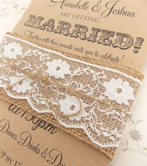 Rustic Circus Wedding Invitation Burlap and Lace on Kraft Card – Etsy Rustic Wedding Invitations
