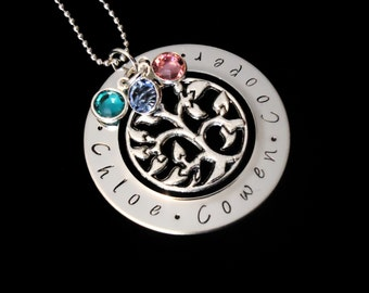 Mother's Day personalized name pendant  necklace with Swarovski Birthstones and tree charm - Mothers necklace - family necklace