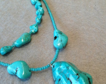 Free Shipping Turquoise double strand necklace with nuggets and seed beads.