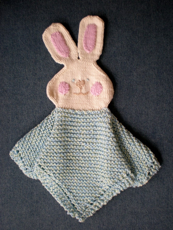 Bunny Blanket Knitting Pattern : PDF Knitting Pattern HugKnits Cheeky Bunny Security blanket