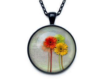Gerberas pendant Gerberas necklace Gerberas jewelry flower necklace